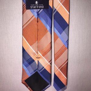 Mens Tie Stafford Silk 60 in Orange Blue Plaid
